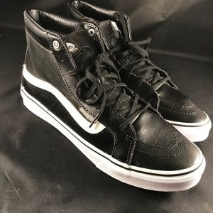 New Black Leather hi top Vans with mesh size 10